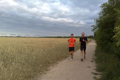 Läufer zwischen Feld und Berliner Mauerweg