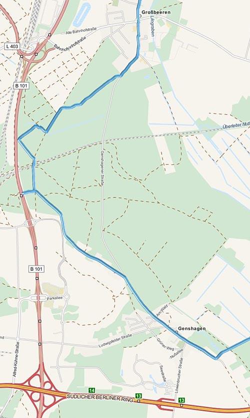 Karte mit Detail der Laufstrecke bei Genshagen