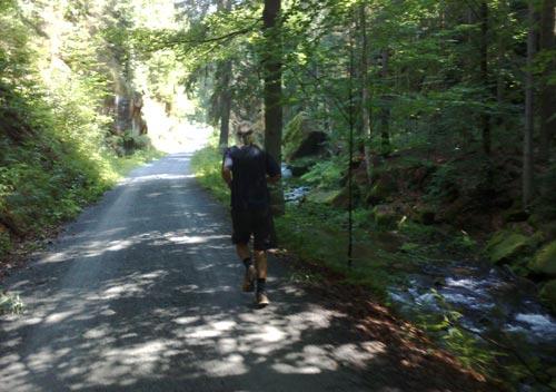 Läufer zwischen Felsen und Kirnitzsch