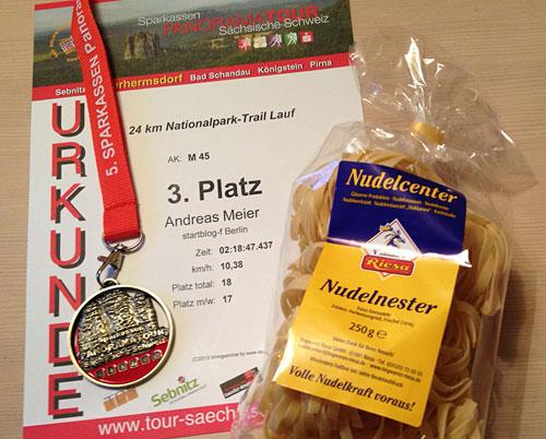 Urkunde 24 km Nationalpark-Trail Sächsische Schweiz 2013
