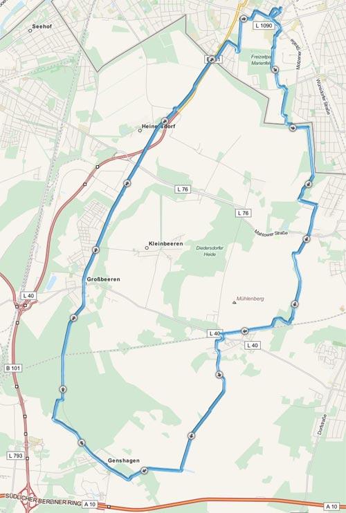 Karte mit Lauf-Strecke über Diedersdorf, Genshagen und Großbeeren