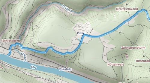 Karte mit Strecke des 24-km-Nationalpark-Trails in der Sächsischen Schweiz, Teil 1