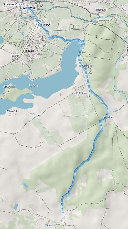 Lauf-Strecke von Güstrow nach Bellin