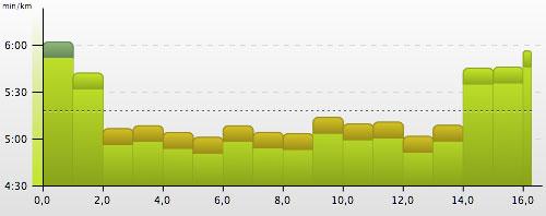 Pace-Grafik unseres Tempodauerlaufs nach dem Einsatz als Marathon-Helfer