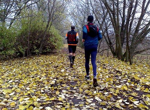 Läufer auf Herbstlaub