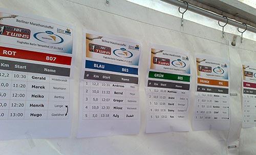 Startlisten der Teams Rot, Blau, Grün, Orange und Pink