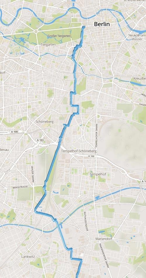 Laufstrecke vom Berliner Süden bis zum Brandenburger Tor