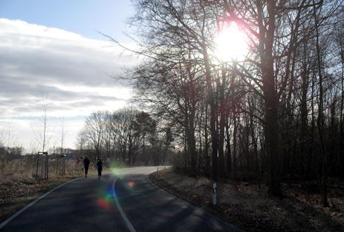 Läufer-Gruppe im Gegenlicht