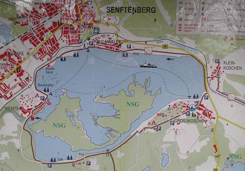 Karte von Senftenberg und dem Senftenberger See