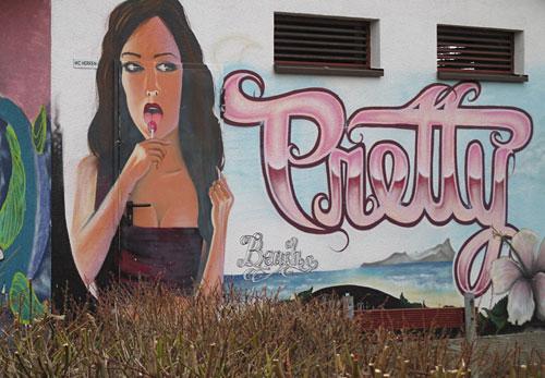 Wandgemälde an einem öffentlichen WC