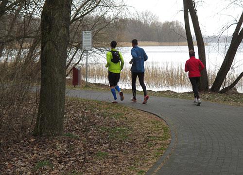 Läufer auf dem Weg um den See