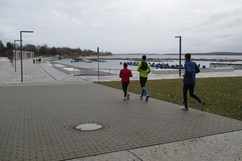 Läufer-Gruppe am Stadthafen Senftenberg