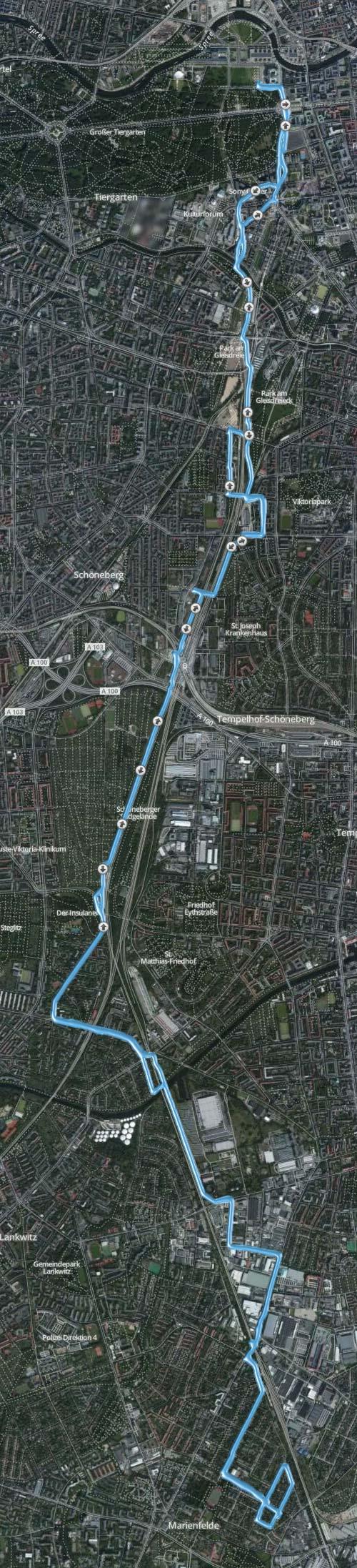 Karte mit der 30-km-Laufstrecke vom Berliner Süden zum Reichstag und zurück