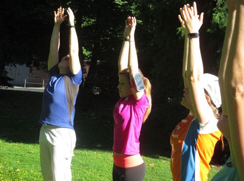 Läufer beim Yoga