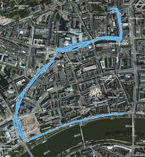 Karte mit Strecke des Frankfurter Stadtlaufs 2014