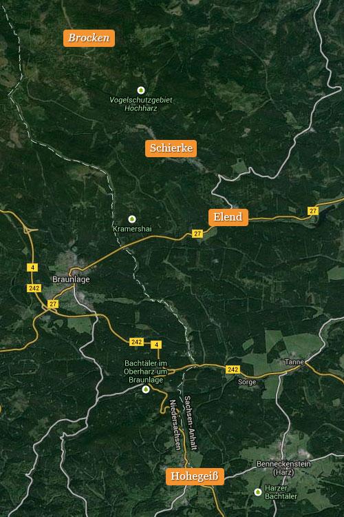 Karte der Orte des Laufblogger-Camp 2014 im Harz