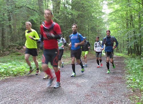 Laufblogger laufen durch den Wald