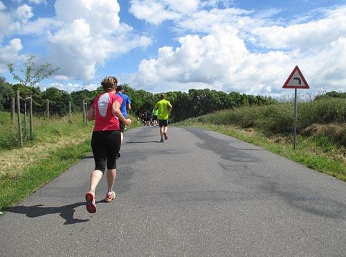 Erste kleine Steigungen auf der Halbmarathon-Strecke
