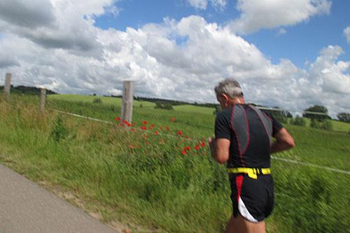 Läufer vor Mohnblumen am Feldrand