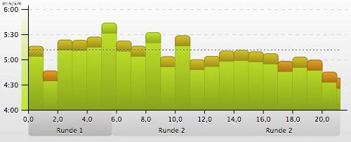 Pace-Grafik Tollensesee-Halbmarathon 2014