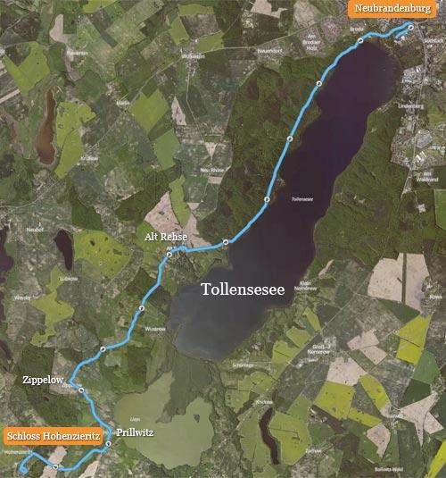 Strecke des Tollensesee-Halbmarathons