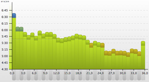 Grafik mit den verschiedenen Pace-Abschnitten und der Endbeschleunigung