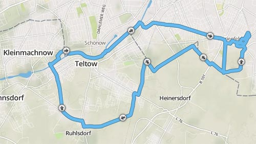 Laufstrecke Marienfelde - Sigridshorst - Teltow - Ruhlsdorf - Teltow - Kleinmachnow - Teltowkanal