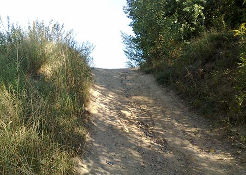 Kurzer steiler Anstieg – eine bemerkenswerte Laufstrecke habe ich mir ausgesucht
