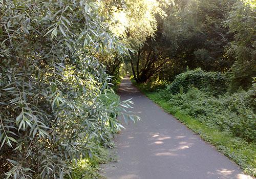 Laufweg am Ufer des Teltowkanals