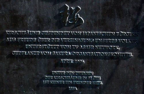 Gedenktafel an der Kirschbaumallee am Berliner Mauerweg