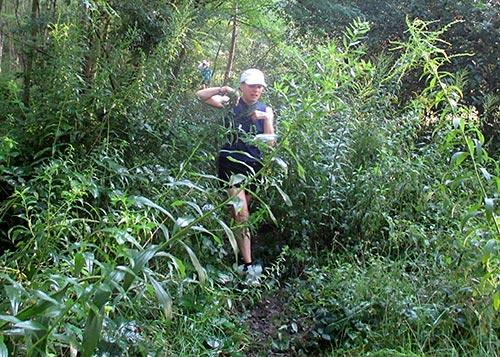 Läuferin kämpft sich durch die Natur