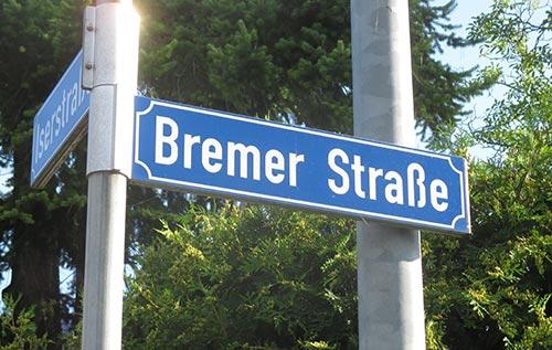 Straßenschild Bremer Straße