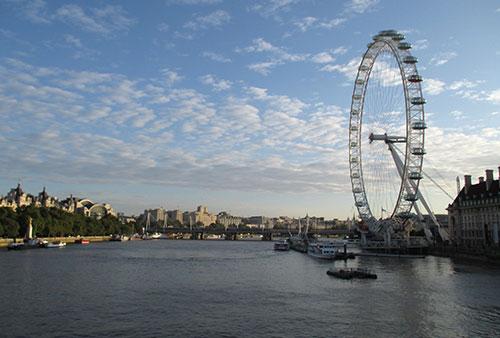 Blick auf die Themse mit London Eye