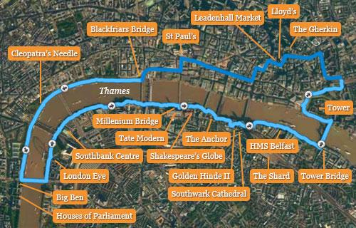 Laufstrecke Sightseeing-Lauf in London