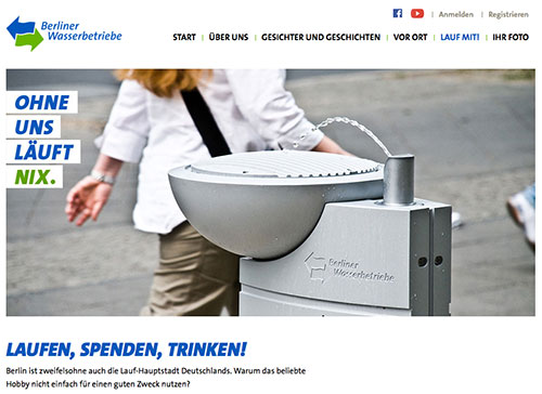 Spendenaktion der Berliner Wasserbetriebe – Website
