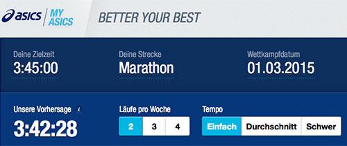 Asics-Marathon-Trainingsplan: Einstellungen für Zielzeit 3:45:00