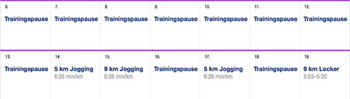 Ausschnitt Vorbereitungsphase - Asics-Marathon-Trainingsplan