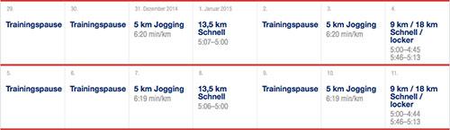 Ausschnitt Phase längerer Läufe - Asics-Marathon-Trainingsplan