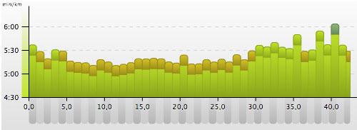 Pace-Grafik mit den Kilometerzeiten beim Frankfurt-Marathon 2014