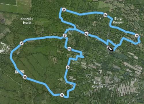 Strecke Frostwiesenlauf 2015 in Burg/Spreewald