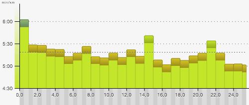 Grafik: Pace über 25 km