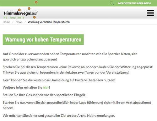 Vorbildliche Veranstalter-Warnung vor hohen Wettkampf-Temperaturen