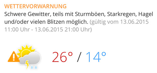 Wettervorwarnung Himmelswegelauf 2015: Schwere Gewitter, Starkregen, Hagel