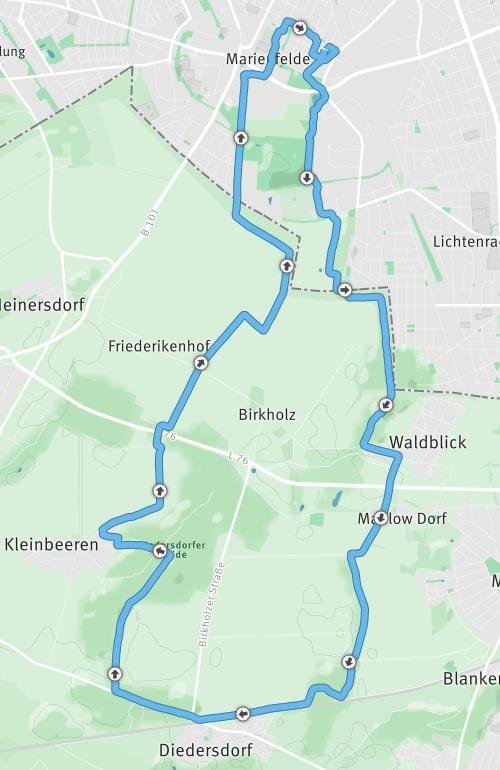 Karte Laufstrecke Marienfelde - Diedersdorf - Kleinbeeren