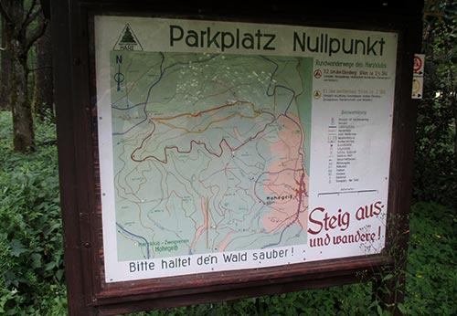 Schild am Parkplatz Nullpunkt
