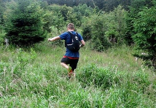 Trail-Läufer im hohen Gras