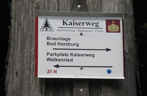 Schild Kaiserweg