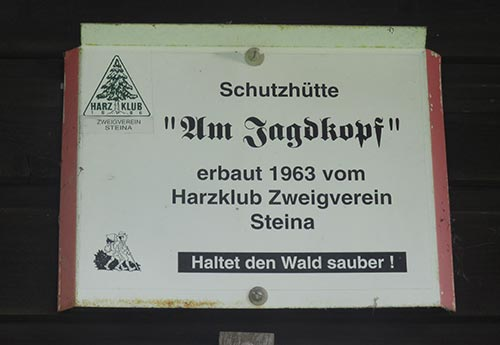 Schild Schutzhütte am Jagdkopf