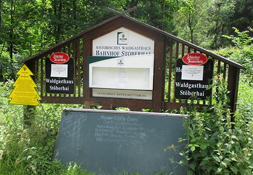 Schild Waldgaststätte Stöberhai