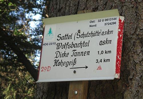 Schild Richtung Hohegeiß